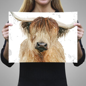 """Bernadette"" The Highland Cow (Grey Background) A1 Unframed Art Print - Andy Thomas Artworks"
