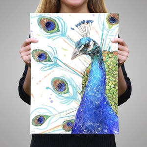 """Percy"" The Peacock A2 Unframed Art Print"