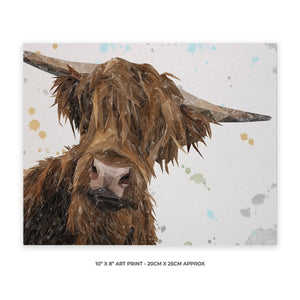 """Mac"" The Highland Bull 10"" x 8"" Unframed Art Print"
