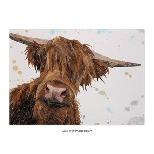 """Mac"" The Highland Bull 5x7 Mini Print"