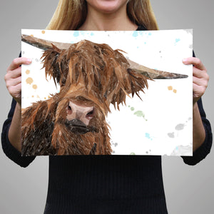 """Mac"" The Highland Bull A2 Unframed Art Print"