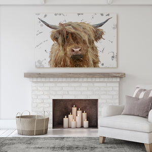 """Millie"" (Grey Background) The Highland Cow Massive Canvas Print"