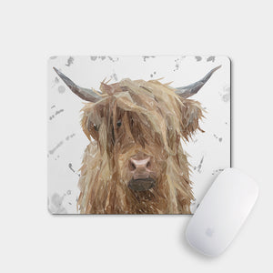 """Millie"" (grey background) The Highland Cow Mousemat"