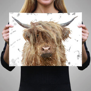 """Millie"" (grey background) The Highland Cow A3 Unframed Art Print"