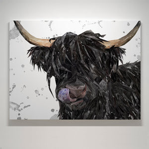 """Mabel"" (Grey Background) The Highland Cow Large Canvas Print"