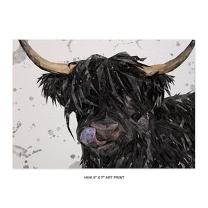 """Mabel"" (grey background) The Highland Cow 5x7 Mini Print"