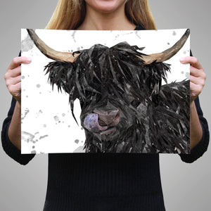 """Mabel"" (grey background) The Highland Cow A3 Unframed Art Print"