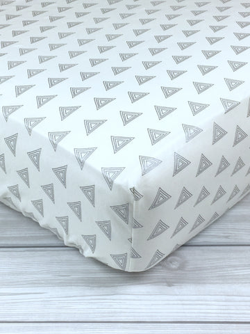 Gray Triangles Crib Sheet or Changing Pad Cover