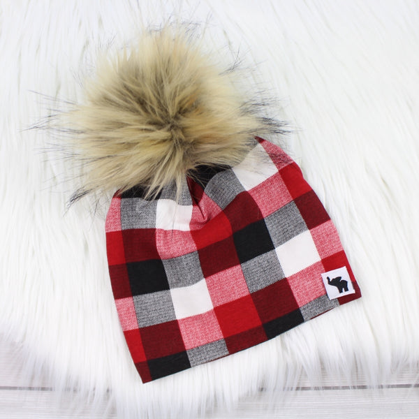 Buffalo Plaid Pom Beanie
