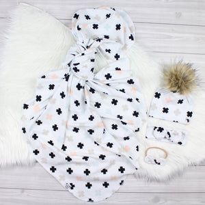 Pink/Blue Crosses Swaddle Set