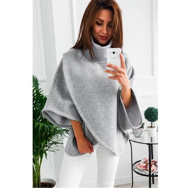 Lossky Winter Asymmetrical Warm Turtleneck Oversized Hoodies Sweatshirt Women Casual Loose-Hoodies & Sweatshirts-Dream Hee-Gray-S-EpicWorldStore.com