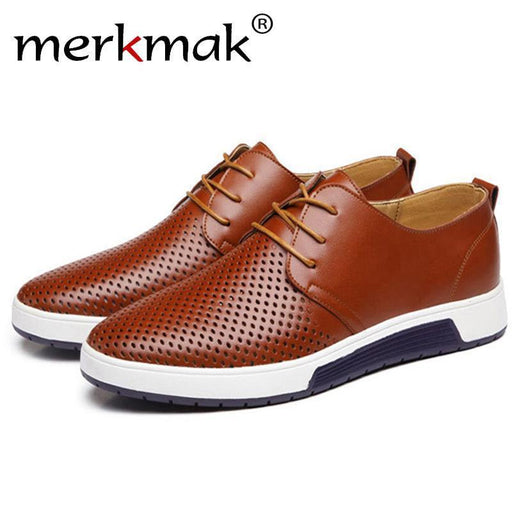 Merkmak Hot Sale Mens Shoes Genuine Leather Holes Design Breathable Shoes Spring Autumn-Men's Shoes-merkmak factory Store-brown leather shoes-5.5-EpicWorldStore.com