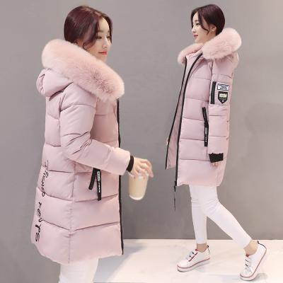 New Winter Jacket Women Cotton Coat Fur Collar Hood Parka Female Long Jackets Thick Warm-Jackets & Coats-chu mark Official Store-Lotus pink-M-EpicWorldStore.com