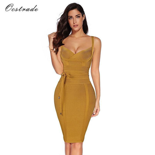 Ocstrade Women Bandage Dress Rayon Sleeveless Summer Stylish Deep V Neck Vestido Bodycon-Dresses-Ocstrade Official Store-Wine red-XS-EpicWorldStore.com