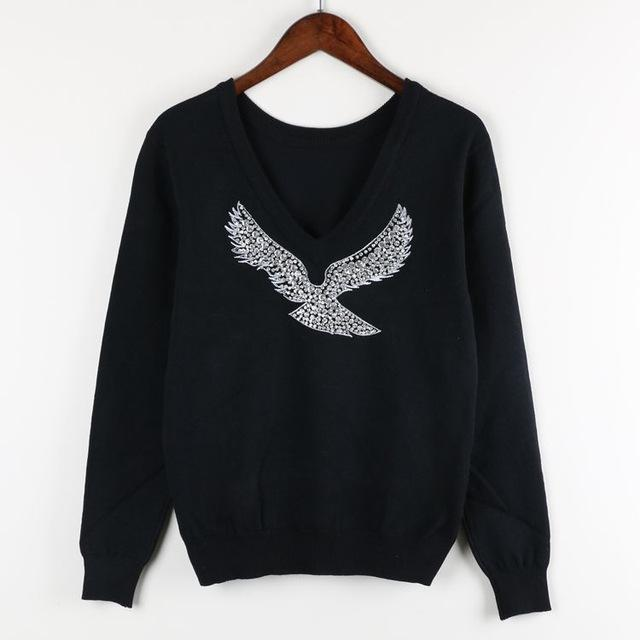 S-Xl Spring New Women Sweaters Full Sleeve V-Neck Beaded Eagle Diamond Pullovers-Sweaters-Shop2792184 Store-Black-S-EpicWorldStore.com