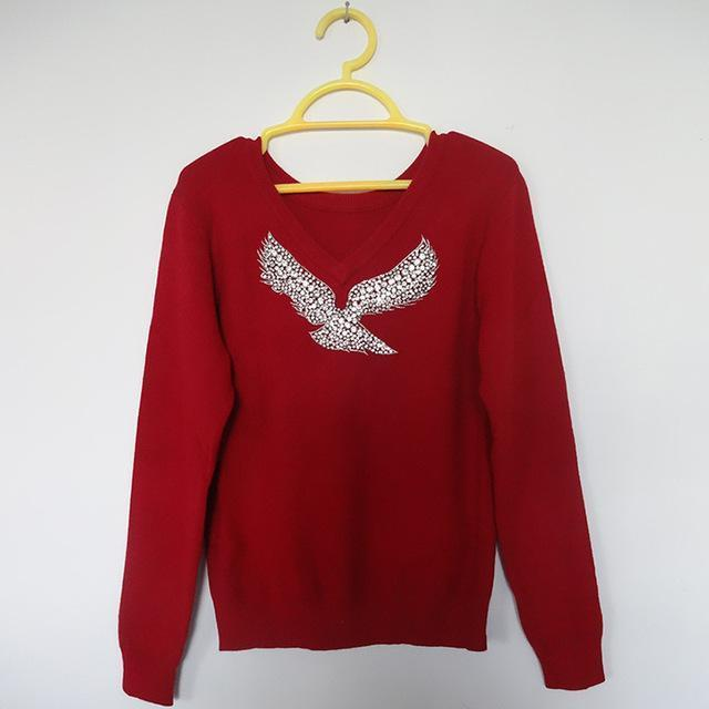 S-Xl Spring New Women Sweaters Full Sleeve V-Neck Beaded Eagle Diamond Pullovers-Sweaters-Shop2792184 Store-Burgundy-S-EpicWorldStore.com