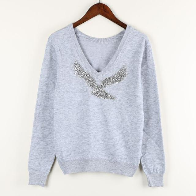 S-Xl Spring New Women Sweaters Full Sleeve V-Neck Beaded Eagle Diamond Pullovers-Sweaters-Shop2792184 Store-Gray-S-EpicWorldStore.com