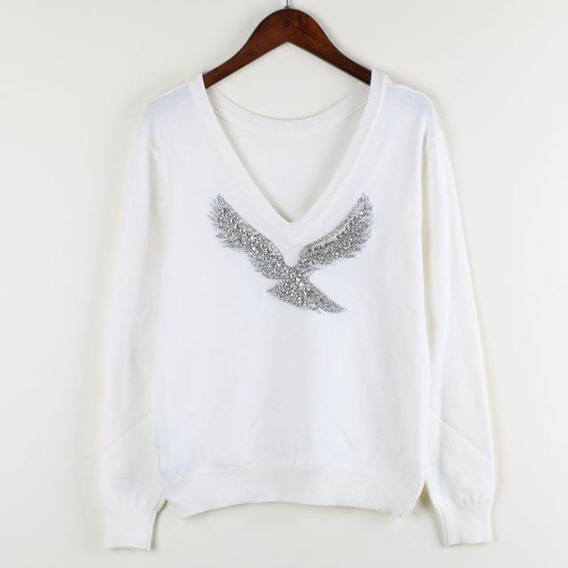 S-Xl Spring New Women Sweaters Full Sleeve V-Neck Beaded Eagle Diamond Pullovers-Sweaters-Shop2792184 Store-White-S-EpicWorldStore.com
