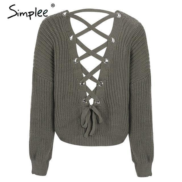 Simplee Stylish Backless Knitting Pullover Lace Up Autumn Winter Sweater Women Tops Casual-Sweaters-Simplee Apparel-Army Green-EpicWorldStore.com