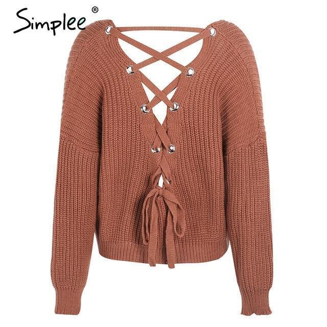 Simplee Stylish Backless Knitting Pullover Lace Up Autumn Winter Sweater Women Tops Casual-Sweaters-Simplee Apparel-Brick Red-EpicWorldStore.com
