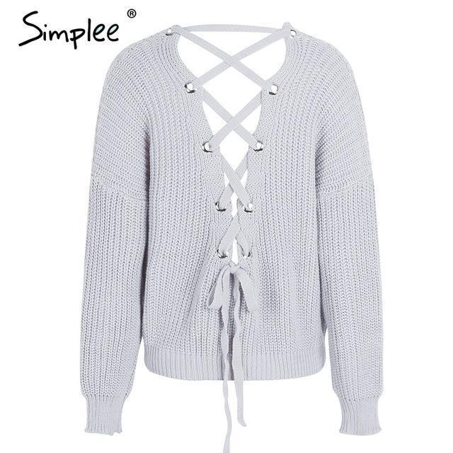 Simplee Stylish Backless Knitting Pullover Lace Up Autumn Winter Sweater Women Tops Casual-Sweaters-Simplee Apparel-Gray-EpicWorldStore.com