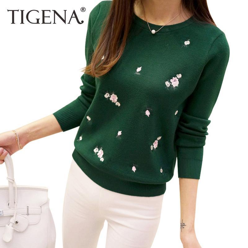 Tigena Embroidery Floral Knitted Sweater Women Winter Sweater And Pullover Female Winter Top-Sweaters-TIGENA Official Store-Black-S-EpicWorldStore.com
