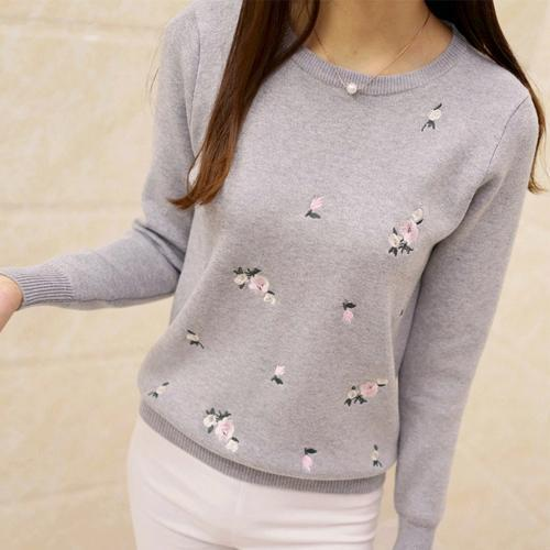 Tigena Embroidery Floral Knitted Sweater Women Winter Sweater And Pullover Female Winter Top-Sweaters-TIGENA Official Store-Gray-S-EpicWorldStore.com