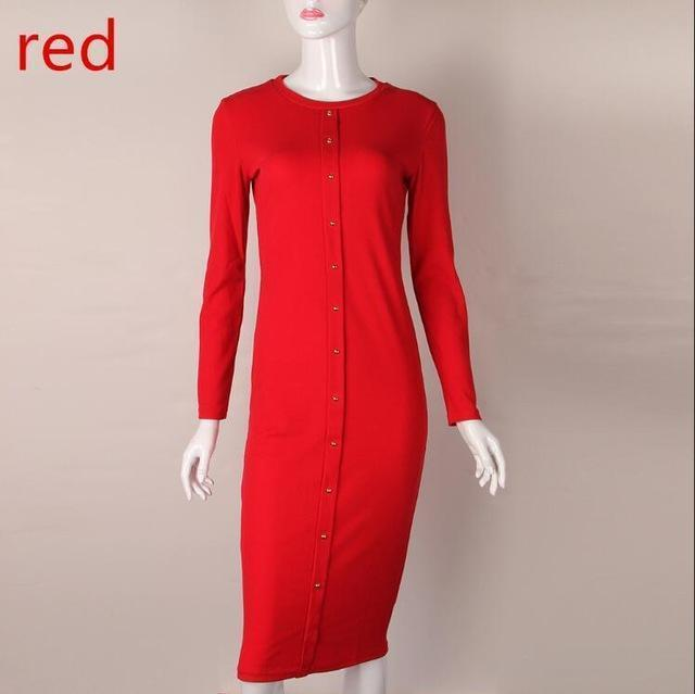 Winter Autumn Work Style Women Bodycon Dresses Stylish Casual Warm Long Sleeve Stretchy Sleeve-Dresses-SF Apparel Store-red-S-EpicWorldStore.com