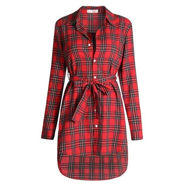 Women Blouses Long Sleeve Plaid Shirts Turn Down Collar Shirt Casual Tunic Feminine Irregular-Blouses & Shirts-Ladies Clothing Boutique-Red-S-EpicWorldStore.com