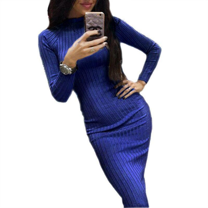 Women Bodycon Sheath Office Dress Autumn Robe Stylish Black Midi Dress Long Sleeve Package Hip-Dresses-iFashion (Hong Kong) Limited-Black-S-EpicWorldStore.com