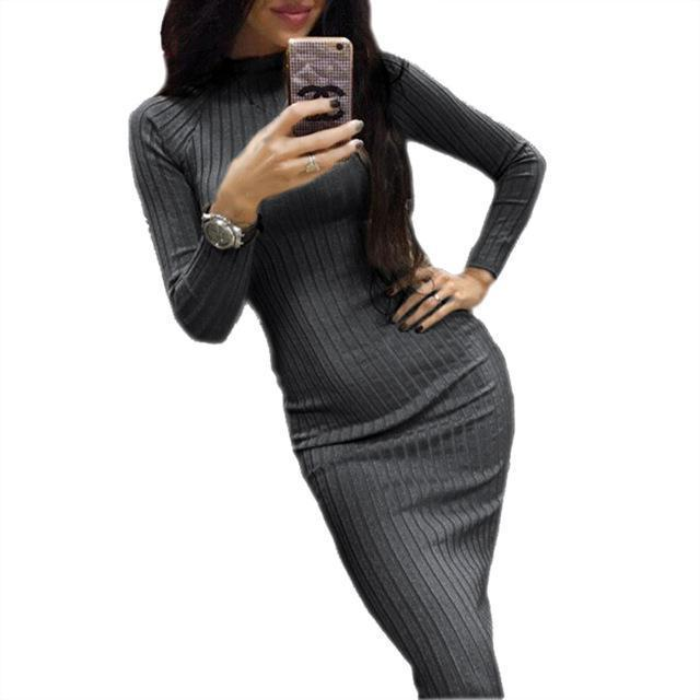 Women Bodycon Sheath Office Dress Autumn Robe Stylish Black Midi Dress Long Sleeve Package Hip-Dresses-iFashion (Hong Kong) Limited-Dark Grey-S-EpicWorldStore.com