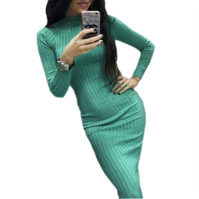 Women Bodycon Sheath Office Dress Autumn Robe Stylish Black Midi Dress Long Sleeve Package Hip-Dresses-iFashion (Hong Kong) Limited-Green-S-EpicWorldStore.com