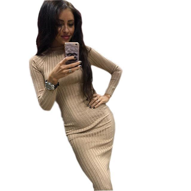Women Bodycon Sheath Office Dress Autumn Robe Stylish Black Midi Dress Long Sleeve Package Hip-Dresses-iFashion (Hong Kong) Limited-Khaki-S-EpicWorldStore.com