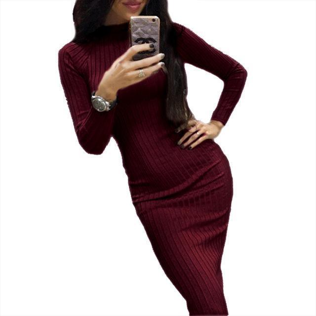 Women Bodycon Sheath Office Dress Autumn Robe Stylish Black Midi Dress Long Sleeve Package Hip-Dresses-iFashion (Hong Kong) Limited-Wine Red-S-EpicWorldStore.com