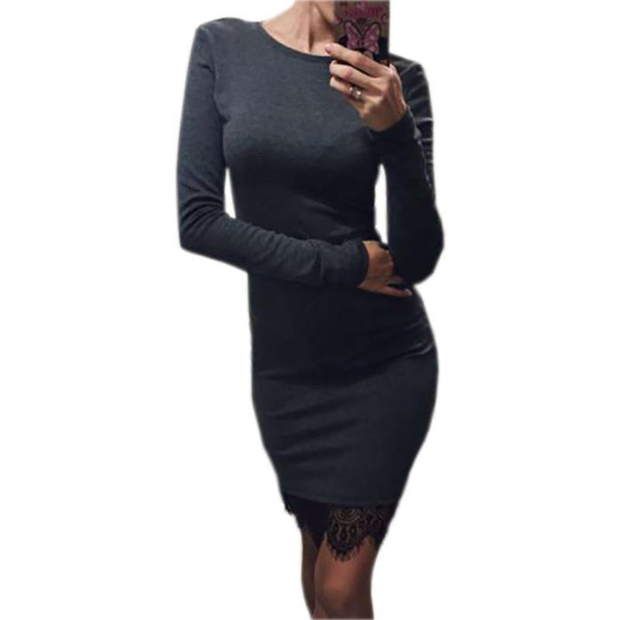 Women Casual Vestidos Fit Ladies Elegant Lace Solid Bodycon Dress Christmas Evening Party-Dresses-iFashion (Hong Kong) Limited-dark gray-S-EpicWorldStore.com