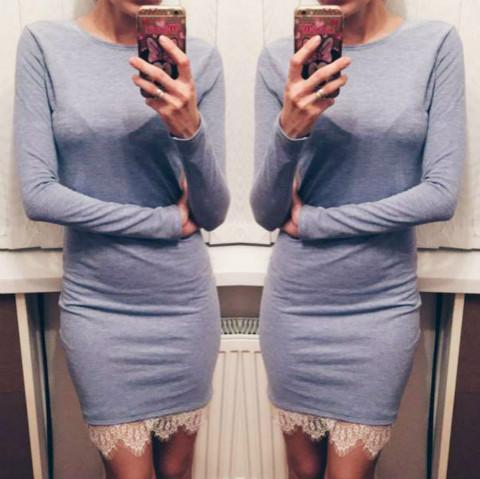 Women Casual Vestidos Fit Ladies Elegant Lace Solid Bodycon Dress Christmas Evening Party-Dresses-iFashion (Hong Kong) Limited-light gray-S-EpicWorldStore.com