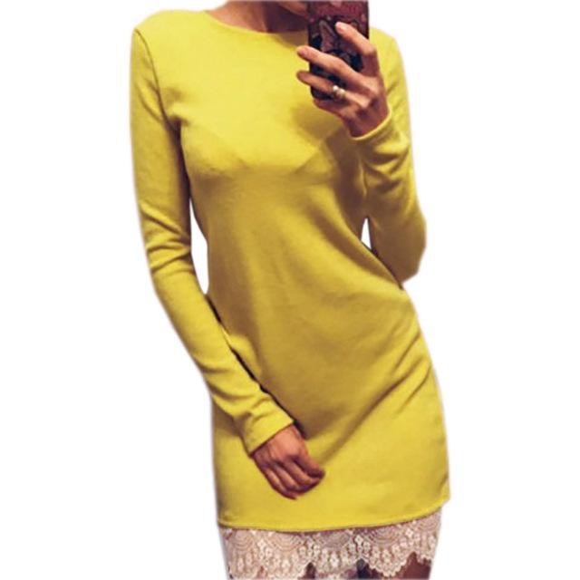 Women Casual Vestidos Fit Ladies Elegant Lace Solid Bodycon Dress Christmas Evening Party-Dresses-iFashion (Hong Kong) Limited-Yellow-S-EpicWorldStore.com