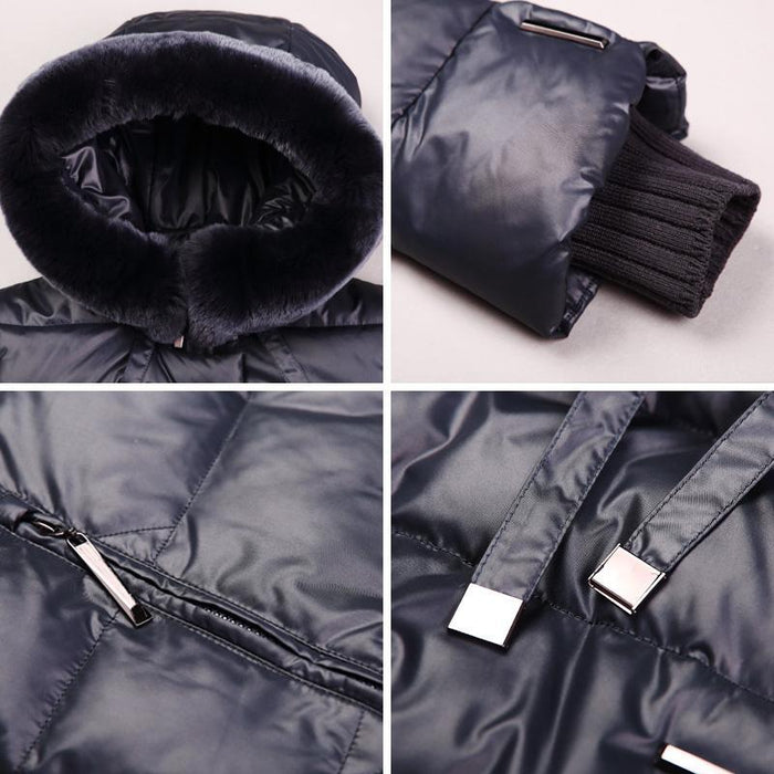Women Coat Jacket Medium Length Woman Parka With A Rabbit Fur Winter Thick Coat Women Miegofce-Jackets & Coats-MIEGOFCE Official Store-605 Dark blue-S-EpicWorldStore.com