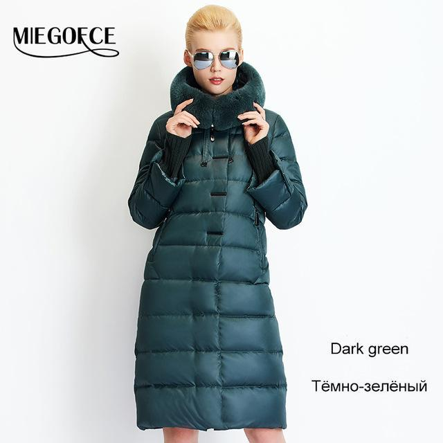 Women Coat Jacket Medium Length Woman Parka With A Rabbit Fur Winter Thick Coat Women Miegofce-Jackets & Coats-MIEGOFCE Official Store-704 Dark green-S-EpicWorldStore.com