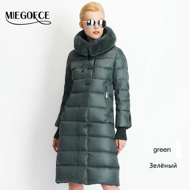 Women Coat Jacket Medium Length Woman Parka With A Rabbit Fur Winter Thick Coat Women Miegofce-Jackets & Coats-MIEGOFCE Official Store-707 Green-S-EpicWorldStore.com