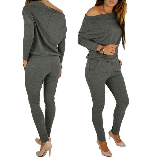 Womens Stylish Jumpsuit Overalls Long Sleeve Casual Rompers Summer Off Shoulder Jumpsuits Playsuit-Jumpsuits-YST GIFTS CO,LTD-Black-S-EpicWorldStore.com