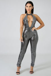 Low V High Neck Sparkle Jumpsuit | Her Wonderland