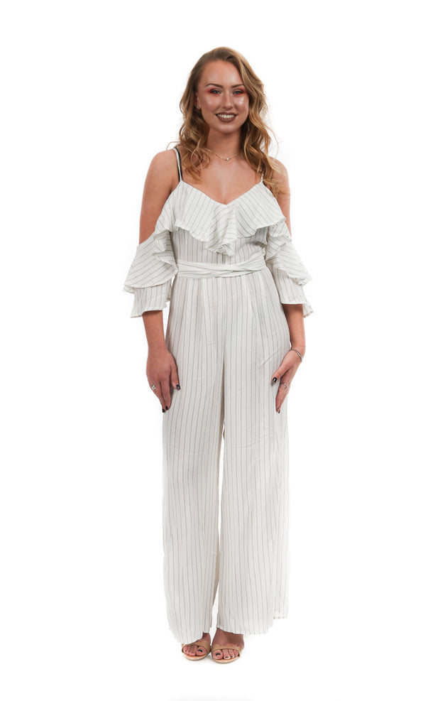 Stripped Flowy Ruffle White Jumpsuit | Her Wonderland