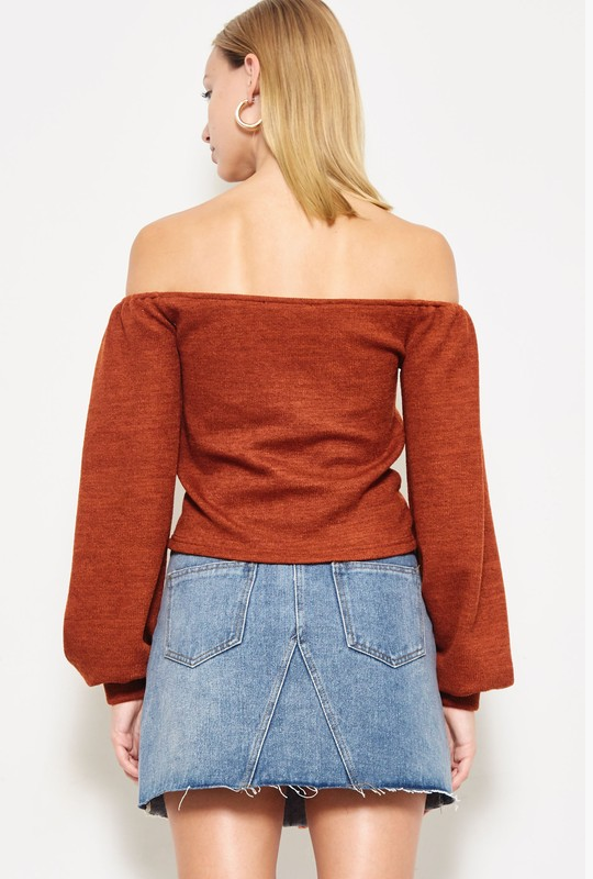 Red Off The Shoulder Long Sleeve Top