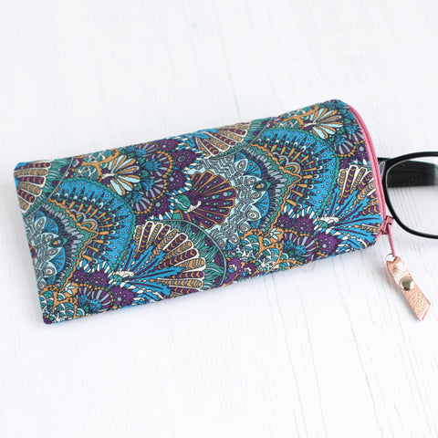 Blue Liberty fabric glasses case