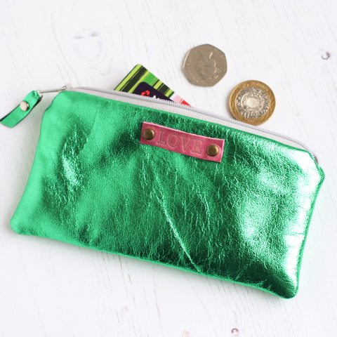 Green metallic leather 'Love' purse