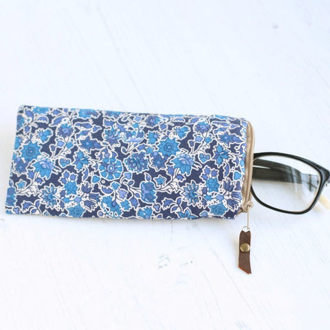 Blue floral Liberty of London fabric glasses case