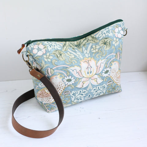 William Morris print blue fabric crossbody bag