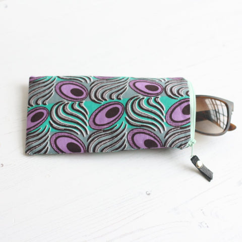 Mint and mauve Ankara fabric sunglasses case