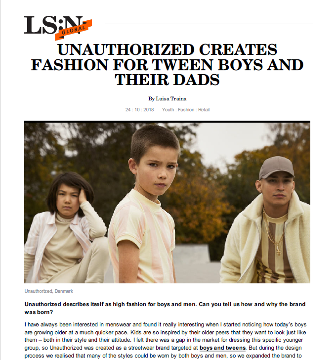 UNAUTHORIZED CREATES FASHION FOR TWEEN BOYS AND THEIR DADS